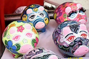 a painted piggy banks