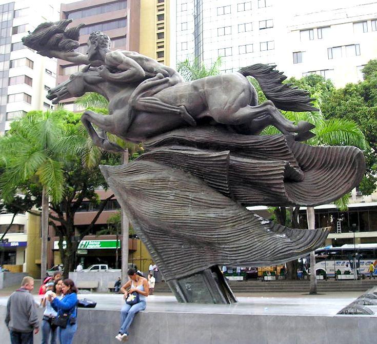 Naked Simon Bolivar statue in Pereira Colombia